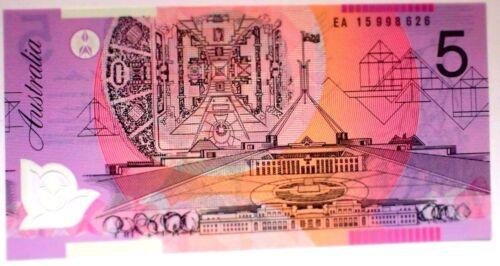 Australia $5 2015 LAST PREFIX NOTE  EA 15  UNCIRCULATED