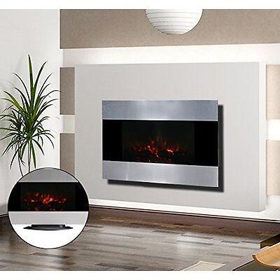 Chimenea Electrica de Pared 90x9.5x56 cm Chimeneas y Estufas LED Color Plata NUE