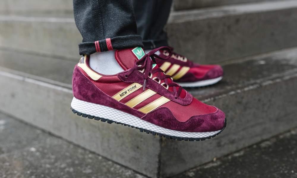Adidas NEW YORK  uk8-8.5-9-10-11     MAROON gold