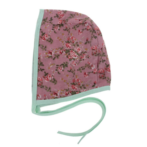 Baby Floral Vintage Double Side Linen Strap Beanie Prop Cap Kids Bonnet 7 styleS