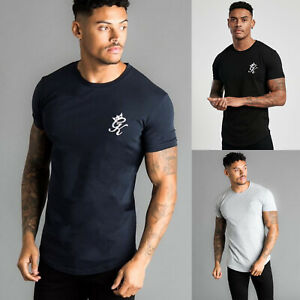 Gym-King-Mens-Crew-Neck-Short-Sleeve-Longline-Fitted-Designer-T-Shirt-Tee-Top
