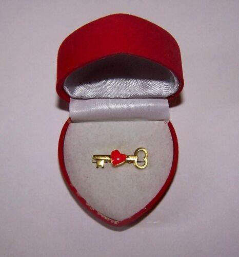 Valentine Key Heart Anniversary Love Sweetheart Engagement Lapel Tie Pin Tac Box