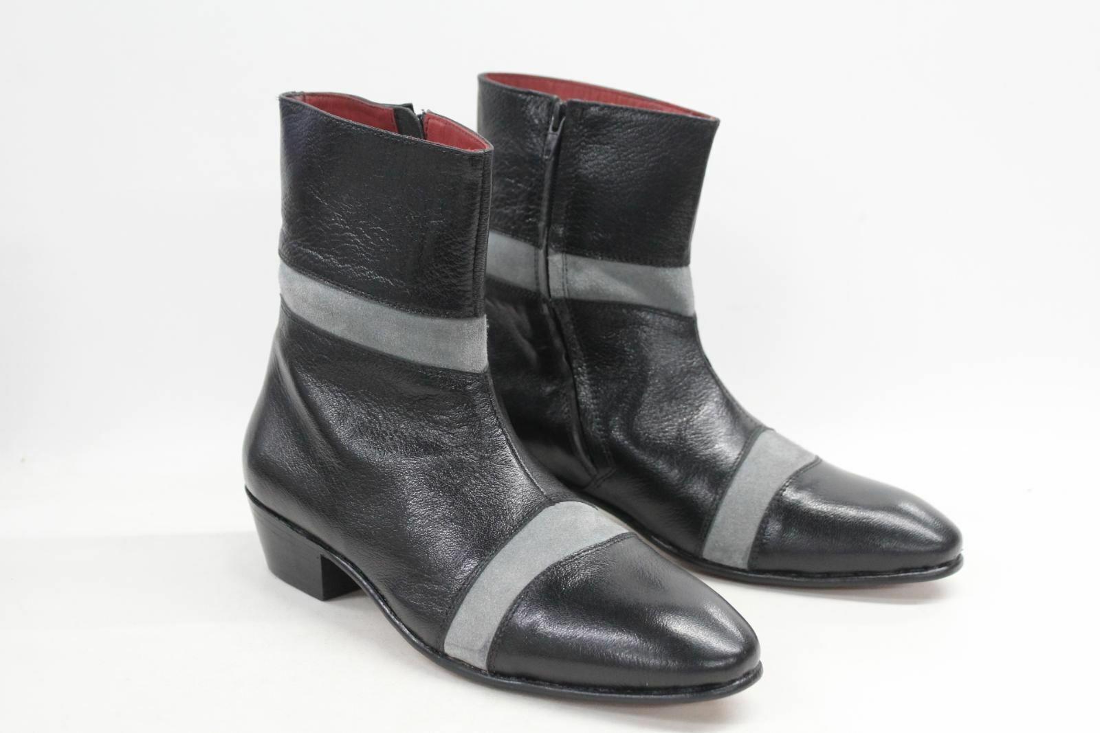 DISTINCT ADVANTAGE Men's Superior Black Leather Pull On Ankle Boots UK7 BNIB