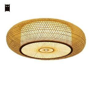 Bamboo Wicker Rattan Round Ripple Ceiling Light Craft Asian Japanese Led Lamp Ebay