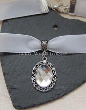 White Velvet Choker/Necklace Clear Cabochon Victorian/Wedding/Bridal/Prom UK