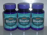 Max Biotin 10,000mcg 10mg Hair Skin Nail Energy Supplement 270 Tablets 3 Bottle