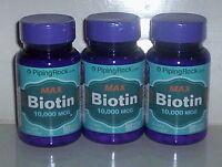 Max Biotin 10,000mcg 10mg Hair Skin Nail Energy Supplement 270 Tablets 3 Bottle