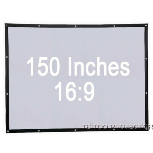 """150/"""" 16:9 White Portable Projector Screen Curtain Fabric for Home Cinema System"""