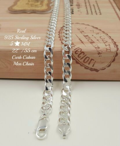"22/"" Véritable Argent Sterling 925 Italie Curb lourd Hommes Chaîne collier 5 mm 25 g A1"
