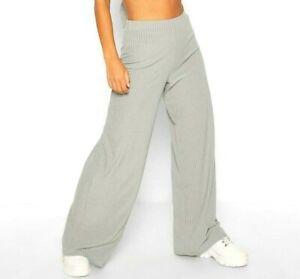 Nouvelle petite Femmes taille haute côtelés Élastique Jambe Large Extensible Femmes Pantalon
