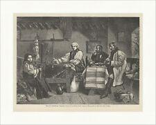 Aus Siebenbürgen: Romanische Bauern Koller Spinnen Tracht Holzstich E 14498
