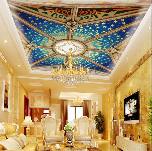 3D Blauer Himmel Sterne Fototapeten Wandbild Fototapete BildTapete Familie DE