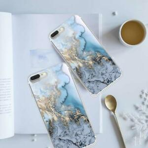 Art-Glossy-Granite-Marble-Soft-TPU-Phone-Case-Cover-For-iPhone-X-7-6s-8-Plus-SE
