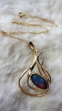 DUNKLINGS Australia Vintage 10CT Gold Oval Black Opal Pendant Brooch Necklace