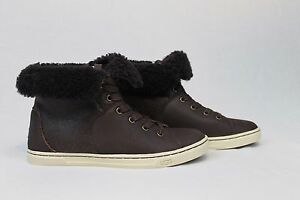 04ea9c3652f UGG AUSTRALIA CROFT CHOCOLATE LEATHER SHEEPSKIN CASUAL ANKLE SNEAKER ...