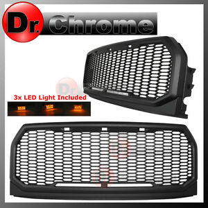 15-16-2017-Ford-F150-F-150-ABS-Amber-LED-Raptor-Style-Mesh-Packaged-Grille-Grill