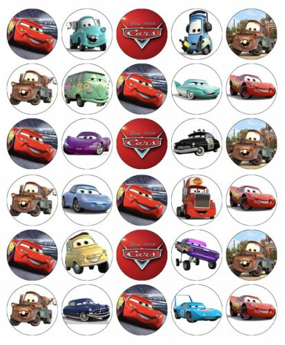 30x Disney Cars Lightning McQueen Cupcake Toppers Comestible Gaufre Fairy Cake Topper