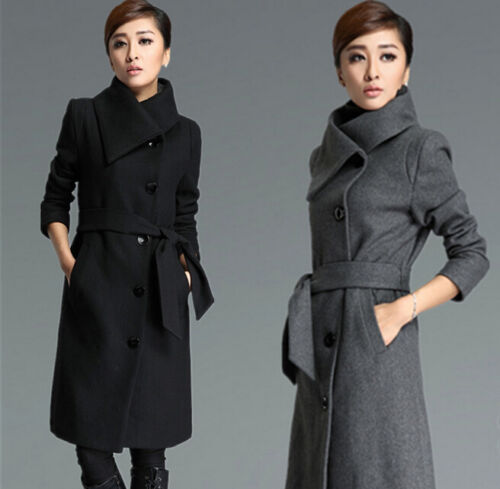 Blend Bælte Uld Women's Fashion Trench Fit Coat Button Jacket Outwear Slim RqTWSf