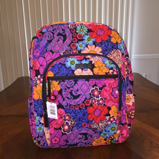 1e5dd942f6 Vera Bradley Campus Backpack Floral Fiesta With Black Interior for ...