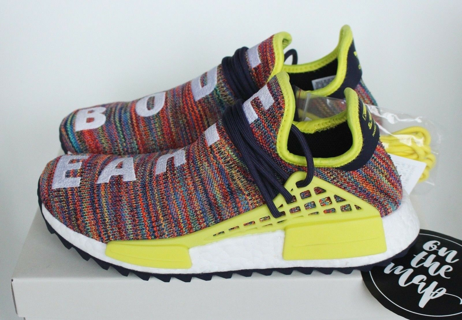 Adidas Pharrell Human Race HU NMD Trail Multi Ink Yellow 5 6 7 8 9 10 11 12 New