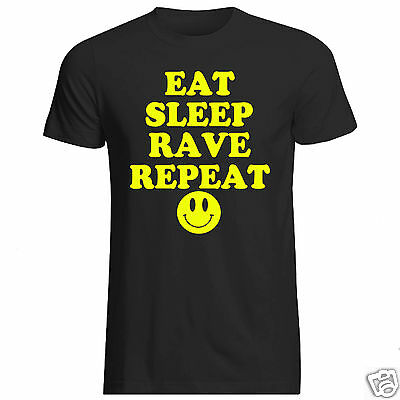 EAT SLEEP RAVE REPEAT Mens T-Shirt S-3XL Neon Printed Dance Party Top