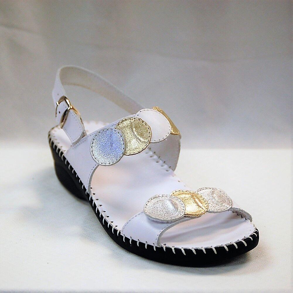 La plume Fiora Donna  bianca Leather wedge wedge wedge sandal Adjustable straps Eur. Dimensione 40 92398c
