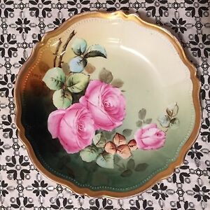 Vintage Antique Handpainted Bowl - Pink Roses - Gold Gilt Trim-signed