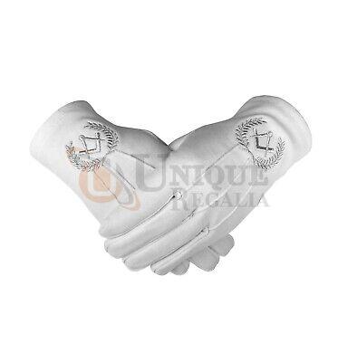 Masonic Regalia Cotton Gloves with beautiful Square Compass Gold//Silver