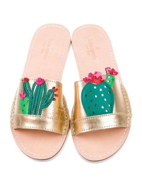 1445a64a84ba NWOB KATE SPADE NY Iguana Cactus Slides Sandals Sz 6M