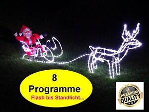 Weihnachtsbeleuchtung Xxl.Details Zu Xxl Led Rentier Schlitten Weihnachtsmann Weihnachtsbeleuchtung Mit 8 Programme