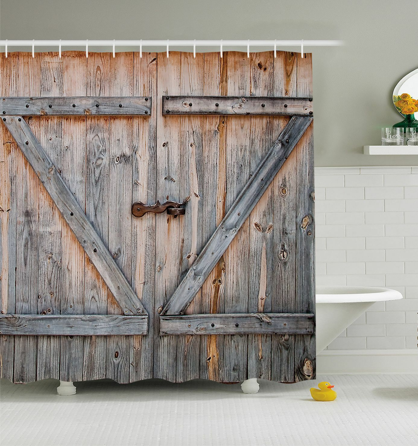 Rustic Barn Door SHOWER CURTAIN Wood Plank Farm Vintage