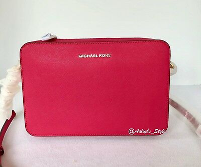 2ec77433f7a3 Michael Michael Kors Jet Set Large Saffiano Ultra Pink Leather Cross Body  Bag NW