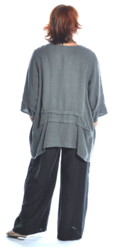 ET/'LOIS USA Linen  PAM TUNIC  Long  A-line  Pleat detail Top  S M L XL  GRAPHITE
