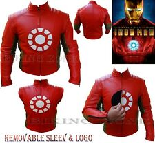 IRON MAN STYLE MENS REMOVABLE SLEEVES MOTORBIKE / MOTORCYCLE LEATHER JACKET VEST