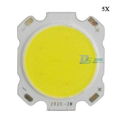 5Pcs 3W Pure White Round High Power COB LED Light Lamp Bulb 6000-6500K 300-400LM