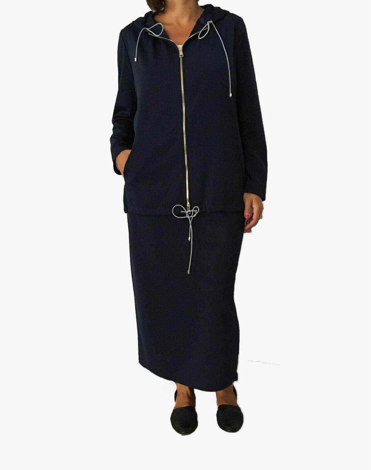 CALALUNA felpa donna con zip e cappuccio blu 96% poliestere MADE IN ITALY