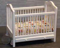 Dollhouse Miniature White Baby Bed Crib With Mattress 1:12 One Inch Scale F13