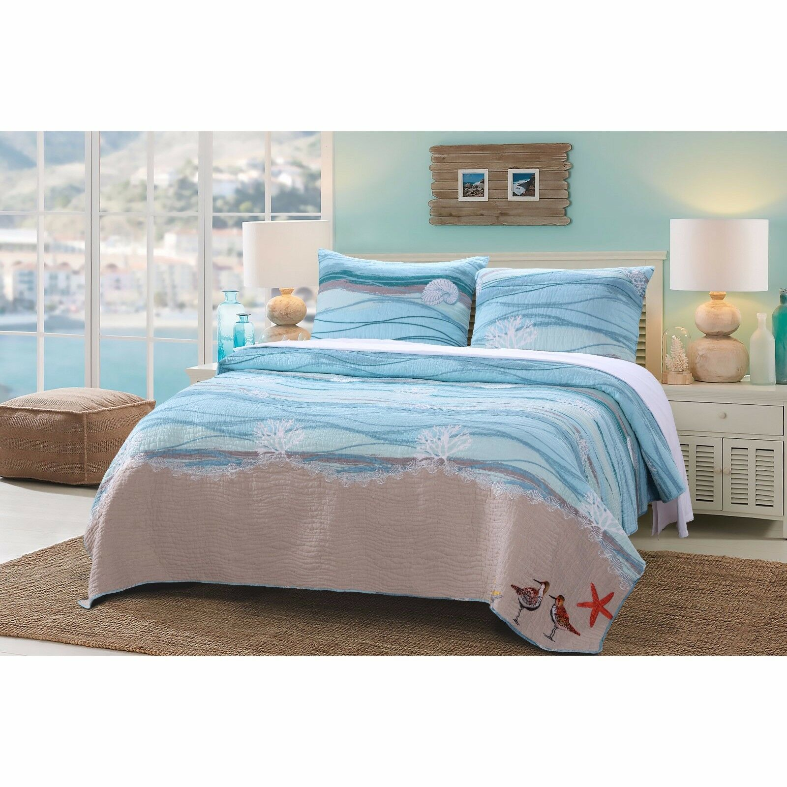 BEAUTIFUL BEACH Blau AQUA TEAL grau SEASHELL NAUTICAL WAVE OCEAN CORAL QUILT SET