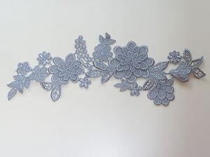 26 cm par 7 cm Magnifique Applique 3d Guipure Venise Fleur en Argent-Gris AP109-afficher le titre d`origine AyXvLQmy-07223139-328464531