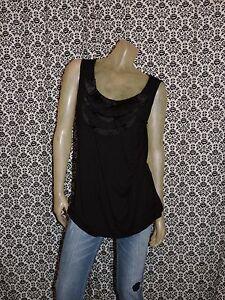 Elie-Tahari-Black-Scoop-Neck-Ruffle-Slvlss-Shirt-Top-Blouse-Womens-MEDIUM-USED