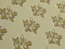 12 x 32mm Self Adhesive PEARL BOWS Stick On WEDDING Gems Card Making CRAFT