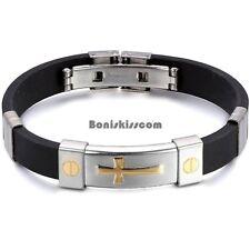 Men's Women's Black Silicone Stainless Steel Cross Bracelet Bangle Wristband