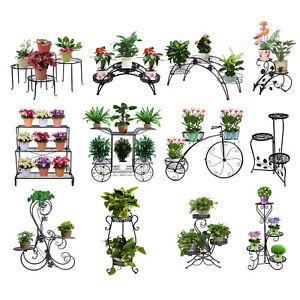 Outdoor-Indoor-Wrought-Iron-Metal-Plant-Stand-Garden-Decor-Flower-Pot-Shelves