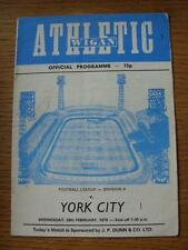 28/02/1979 Wigan Athletic v York City [1st League Season] (Creased, Folded, Scor