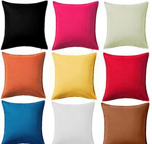 Plain-Dyed-Cushion-Cover-100-Percale-Cotton-Pillow-Case-16-034-x16-034-18-034-x18-034-Sizes