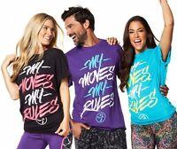 Zumba Fitness Unisex My Moves My Rules Tshirt Black Purple Blue One Size