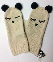 Juniors Bongo Panda Mittens Knit 100% Acrylic Light Tan With Pom-pom Ears