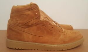 the latest ac39f aadd6 Details about Size 12 Nike Air Jordan Retro 1 High OG Wheat Golden Harvest  Flax bred royal max