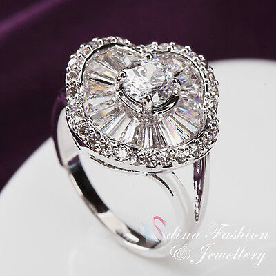 18K White Gold Plated Simulated Diamond & Crystal Luxury Flower Ring Jewellery