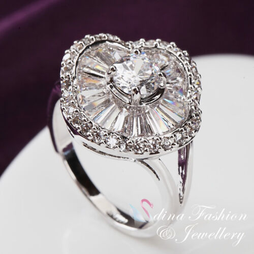 18K White Gold Plated Simulated Diamond /& Crystal Luxury Flower Ring Jewellery